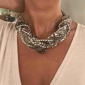 Chunky silver chain & stones choker necklace